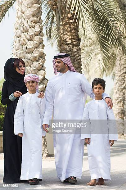 A family going for a walk