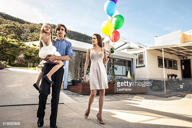 Family going to celebrate a birthday party