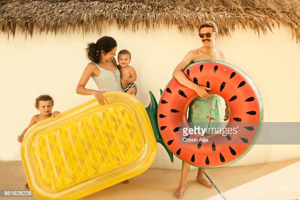 family going to the beach - mexican and white baby stock photos and pictures