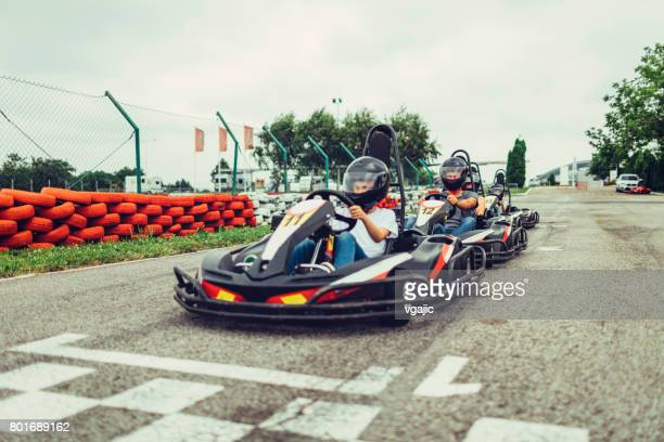 family go-karts - go cart stock pictures, royalty-free photos & images