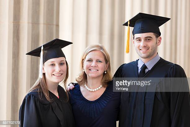 family graduation portrait with parent and students in ceremony - tassel stock pictures, royalty-free photos & images