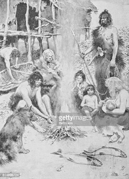 A family group in the stone age It was thus that the Danish kitchen middens illustrated were created Each family group cast its refuse in the shape...