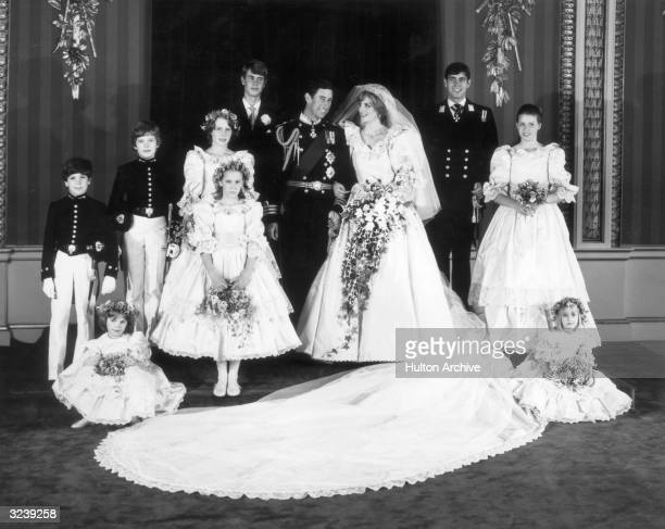 A family group In the throne room of Buckingham Palace after the wedding of Charles Prince of Wales and Princess Diana Back row left to right Edward...