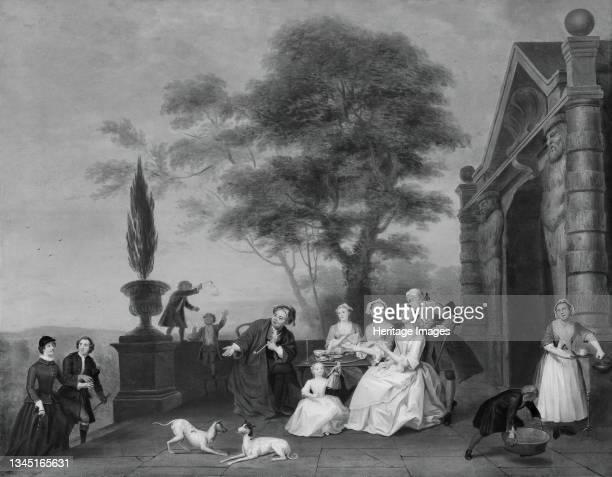 Family Group on a Terrace, circa 1740. Artist John Theodore Heins.