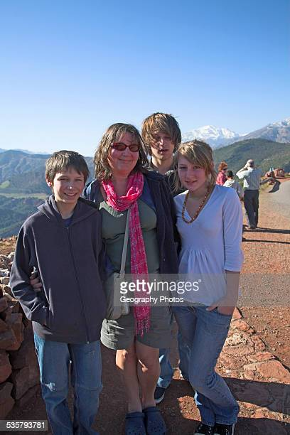 Family group on holiday in the Atlas Mountains, Morocco, north Africa,.