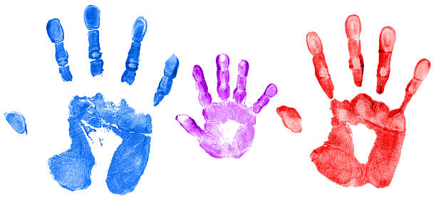 family hand prints - human hand stock pictures, royalty-free photos & images