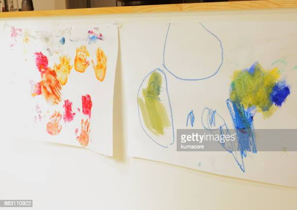 family hands of paint - artistic product stock photos and pictures