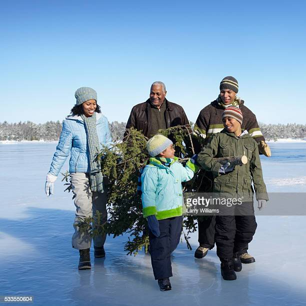 family hauling cut christmas tree on frozen lake - african american christmas images stock pictures, royalty-free photos & images