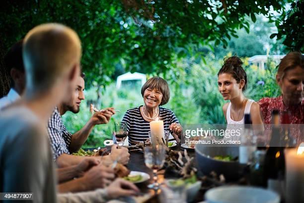 Family Having A Garden Party