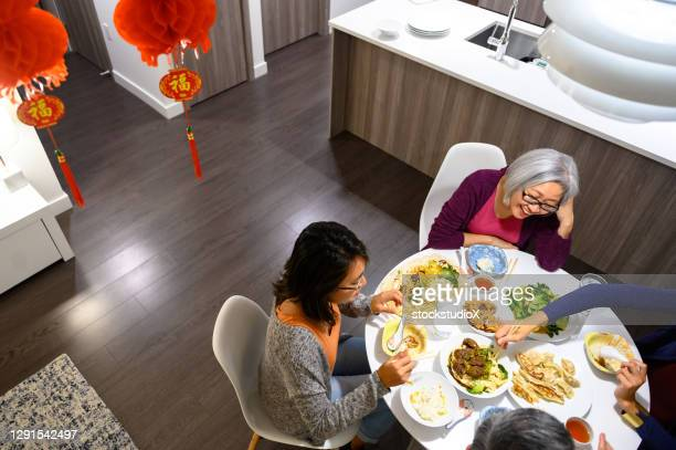 famille ayant un repas au nouvel an chinois - 30 34 years photos et images de collection