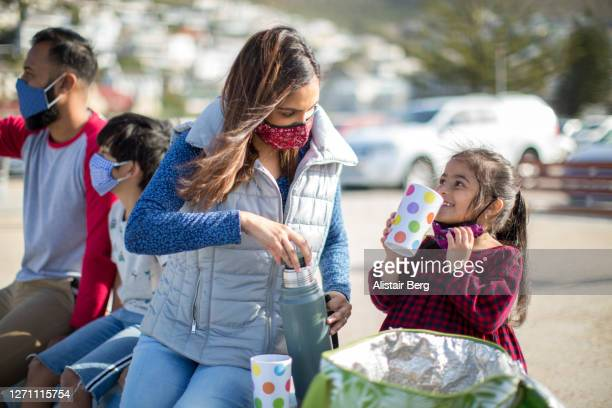 family having a picnic during covid - avoidance stock pictures, royalty-free photos & images