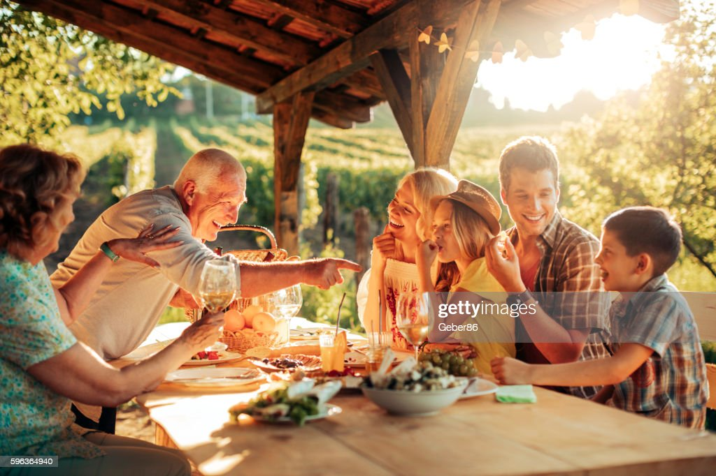 Family having a picnic : Stock Photo