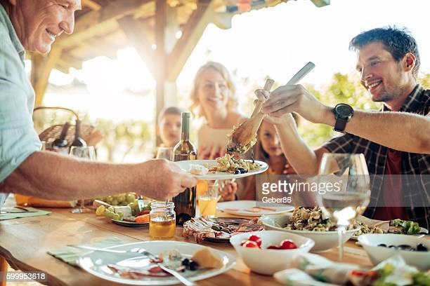 family having a picnic - meal stock pictures, royalty-free photos & images