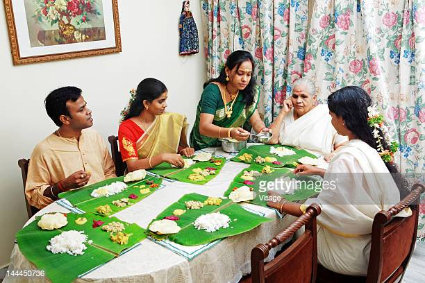 Family having a traditional meal