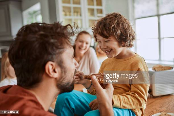 family having breakfast - nutella stock pictures, royalty-free photos & images