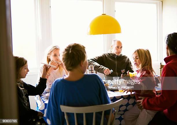 A family having breakfast Sweden.
