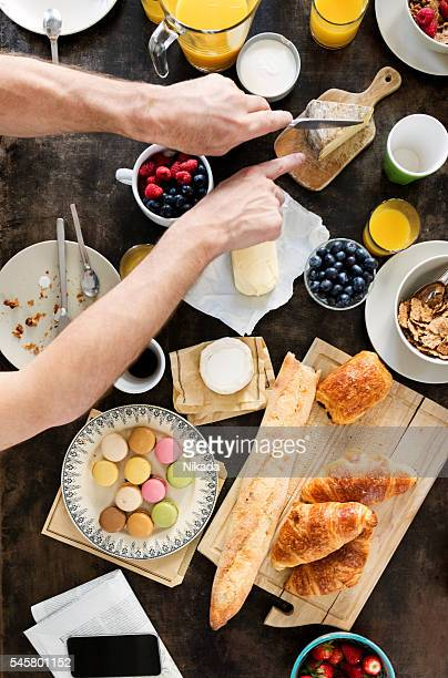 Family Having Breakfast together, Overhead View