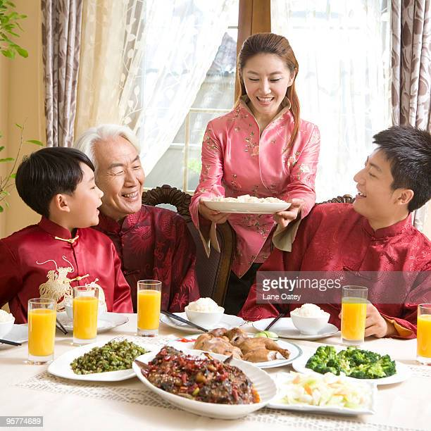 Family having Chinese New Year dinner