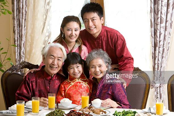 Family having Chinese New Year dinner