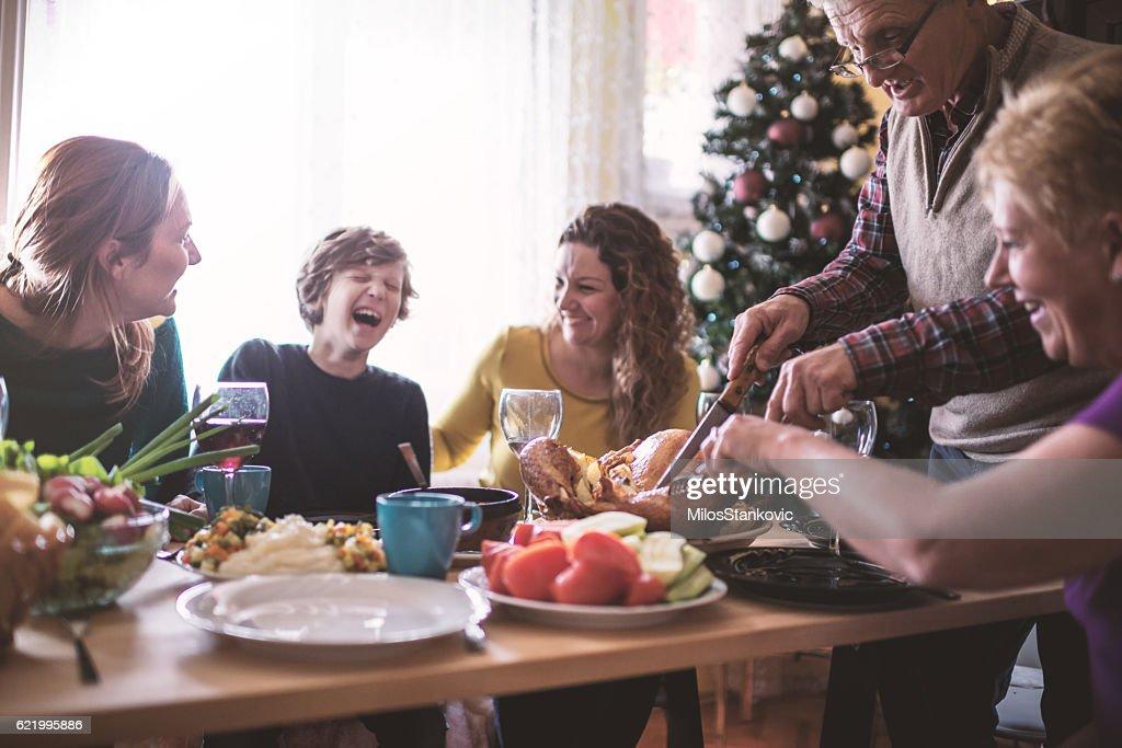Familie ein Weihnachts-Abendessen : Stock-Foto