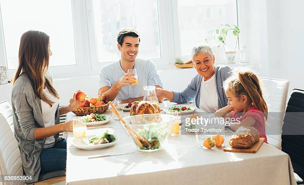 Family having dinner