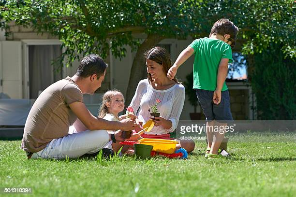 Family having fun in garden