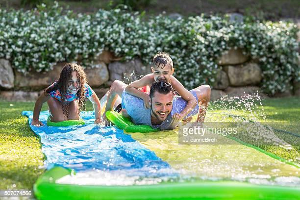 Family having fun in the garden