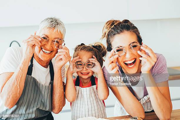 Family having fun in the kitchen
