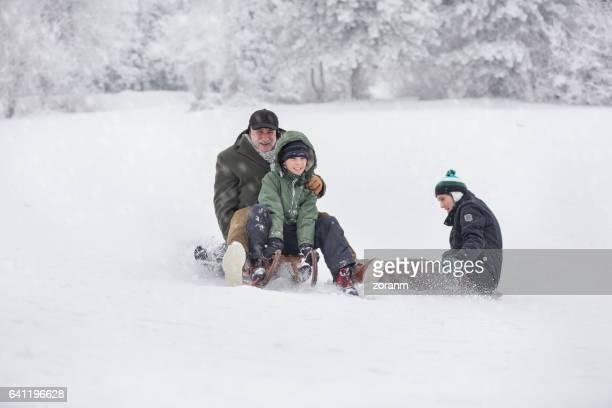 Family having fun on snow