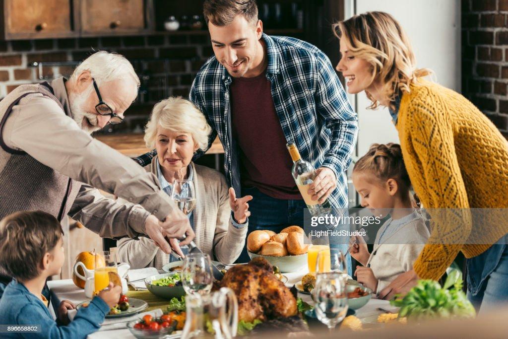 family having holiday dinner : Stock Photo