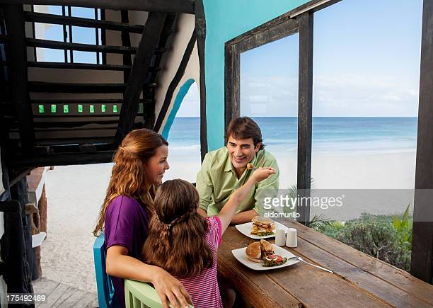 Family having lunch on vacations