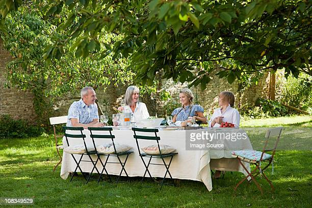 Family having lunch outdoors
