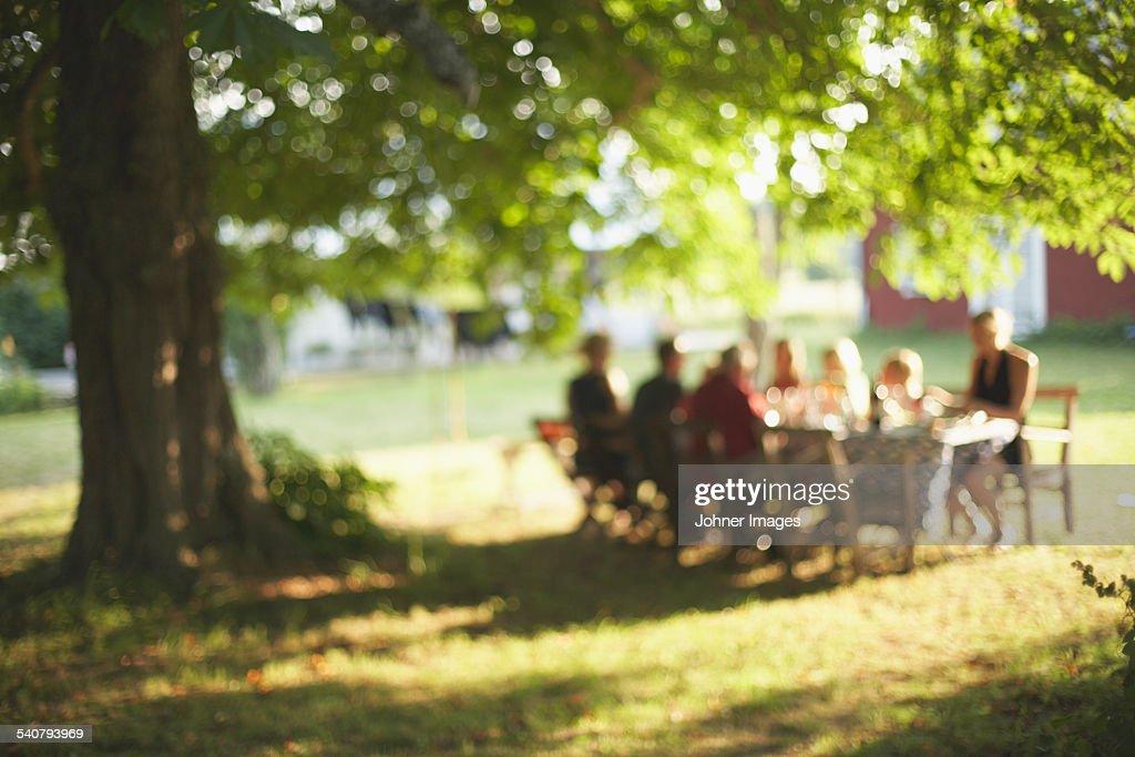 Family having meal in garden : Stockfoto
