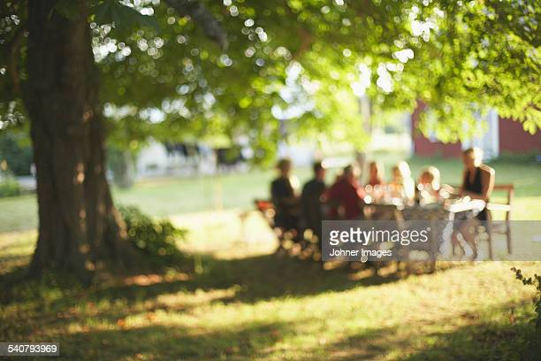 family having meal in garden - personne secondaire photos et images de collection