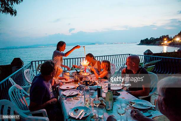 Family having meal on patio