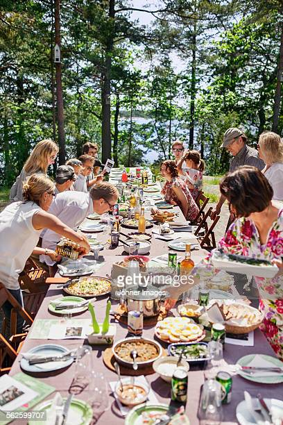 Family having meal outdoors
