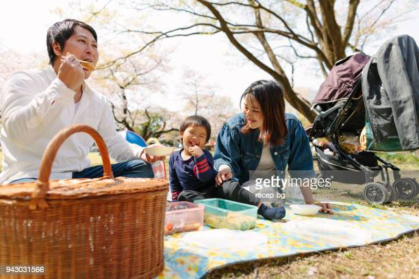 family having picnic - hanami stock pictures, royalty-free photos & images