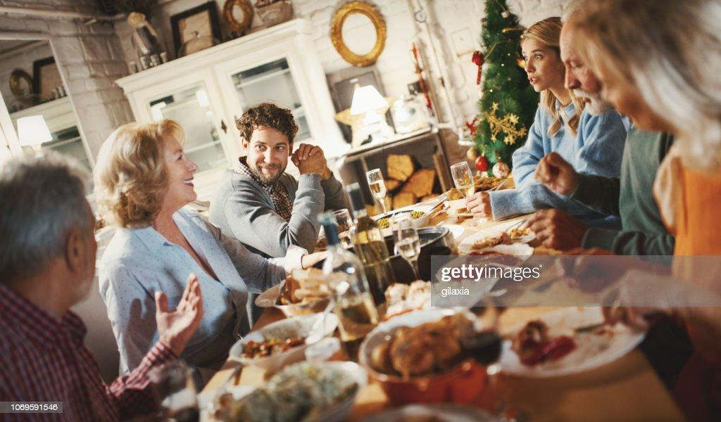 Family having Thanksgiving dinner. : Stock Photo
