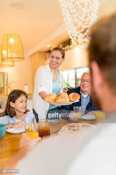 Family having their breakfast