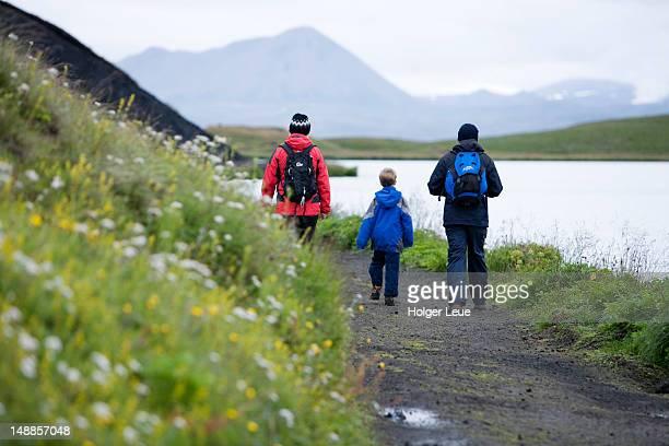 Family hike at volcanic Lake Myvatn.
