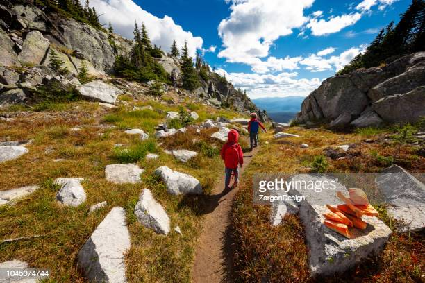 family hike - north america stock pictures, royalty-free photos & images