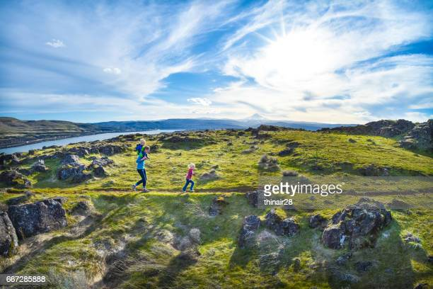 family hike with children - columbia river gorge stock pictures, royalty-free photos & images