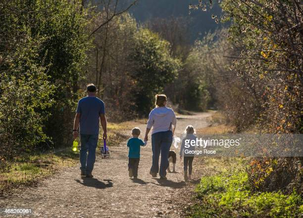 Family hikes along the Russian River at Riverfront Regional Park on January 25 in Healdsburg, California. With 2013 the driest year in recorded...