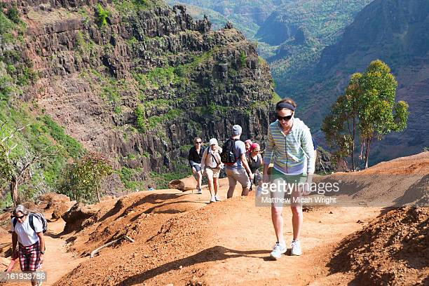 a family hikes up the cliffs of waimea canyon - waimea canyon stock pictures, royalty-free photos & images