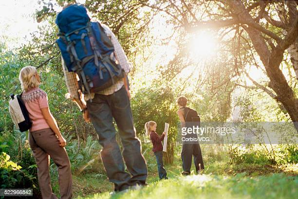 Family Hiking in Countryside