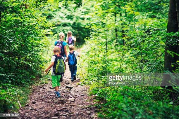 Family hiking in dense deciduous forest