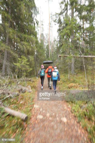 Family hiking in Finland
