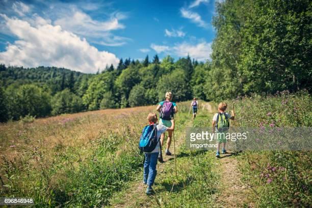 Familie wandelen in de groene heuvels