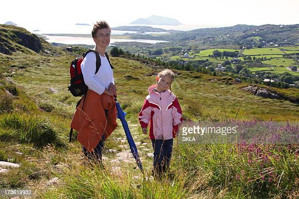 Family hiking in Ireland (mother and daughter)