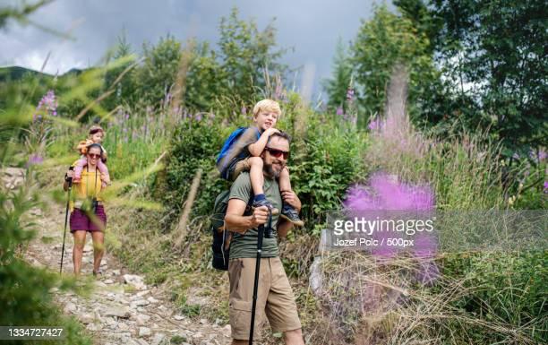 family hiking in mountain - 心の健康 ストックフォトと画像